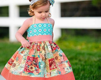 Elise Halter Dress PDF Sewing Pattern, including sizes 12 months-14 years, Girls Dress Pattern