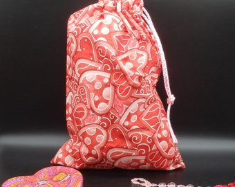"Hearts Gift Bag, Sweetheart Gift Bag, Drawstring Bag, Reusable Gift Wrap, Fabric Gift Bag, Valentines Gift Bag, Gifts for Lovers - 11"" x 16"""