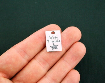 2 Travel Charms Antique Silver Tone Safe Travels - SC5888