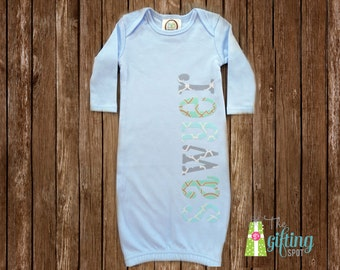 Monogrammed Baby Boy Gown, Personalized Baby Gown, Baby Gift, Baby Name Gown, Baby Shower Gift, Baby Gown with Appliqué Name