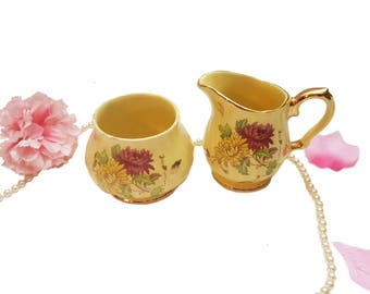 Pastel Yellow Sadler Cream and Sugar Set, Red Yellow Floral Tea Set, Made in England, Afternoon Tea Gift for Her