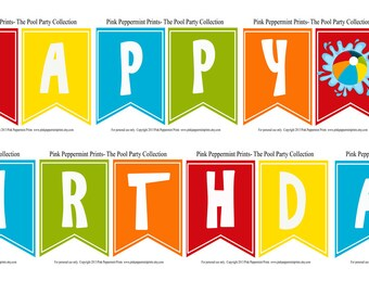 NEW INSTANT DOWNLOAD  The Splish Splash Pool Party Printable Party Collection- Printable Happy Birthday Party SIgn