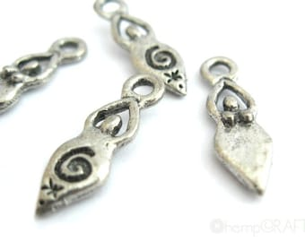 Harmony Goddess Charms, 4pc Antiqued Silver Pewter Charm, 5x17mm