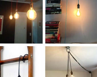 Pendant Light   Any Color   Pendant Lamp Hardwired Or Plug In Light Vintage  Antique Cord