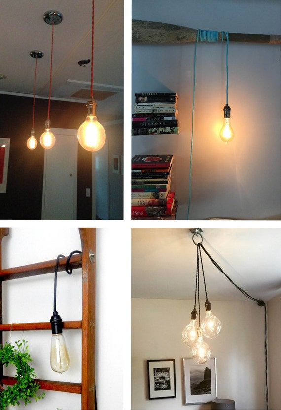 Pendant light any color pendant lamp hardwired or plug in