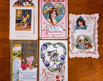 Antique Valentine Postcards: Mixed SET