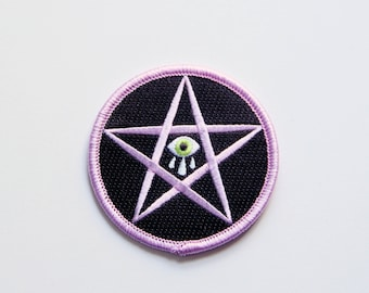 Sad Star Iron-on Embroidered Patch