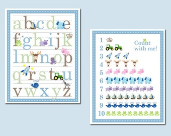 11x14 Boy Alphabet and Number Counting Poster - Set of 2