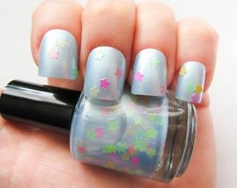 Spring Breeze ~ Nail Polish // Glitter Nail Polish // Glitter // Blue // Flower // Indie Polish // Vegan Friendly // Polish