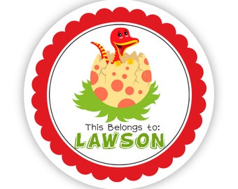 Personalized Name Stickers - Red Yellow Dino Egg, Prehistoric Raptor Dinosaur Name Tag Sticker - Round Labels - Back to School Name Stickers