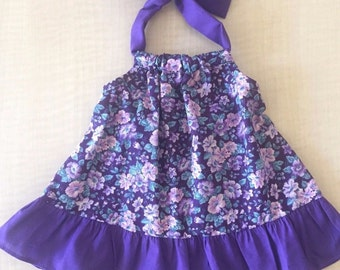 Beautiful Purple Floral Baby Dress Size 6 Months