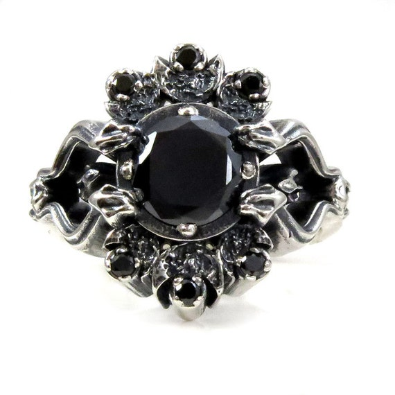 Gothic Snake and Crescent Moon Engagement Ring - Black Moissanite and Black Diamonds