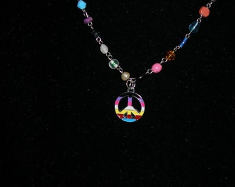 PRIDE necklace -- let it show all year  -- REACT,  OlympiaEtsy, OneLove, HandmadeJewelryGuild, FunkyAlternativeJewelry, WWWG