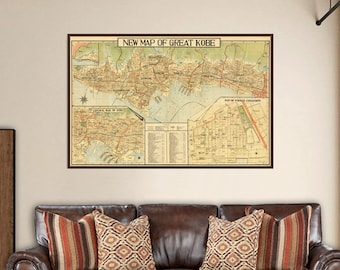 Vintage map of Kobe - Large wall map, fine print