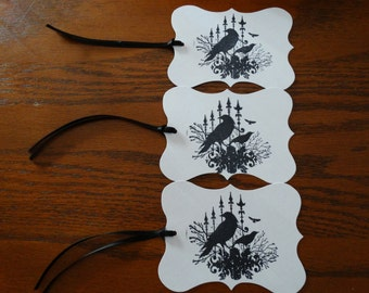 SET of 3 Large Halloween Gothic Crow Hang Tags