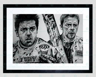 Shaun Of The Dead Simon Pegg Nick Frost Framed Art Print By W.Maguire F12X10615