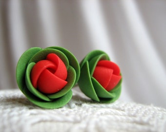 Polymer clay earrings - Red and green rose flower small stud earrings