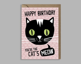Cat birthday card // You're the cat's meow // funny card // cat lover // cute //