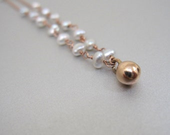 Keshi Seed Pearl Solid 14k Rose Gold Drop Necklace