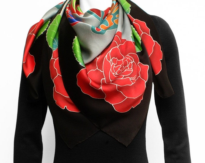 Aztec Quetzalcoatl sacred geometry with red roses silk scarf