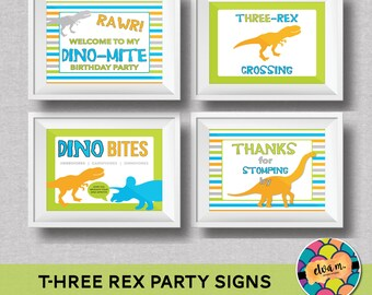 "Dinosaur Birthday 4- 8x10"" Signs. T-hree Rex Dinosaur Theme Party for third birthday. Printable / DIY.  *INSTANT DOWNLOAD*"