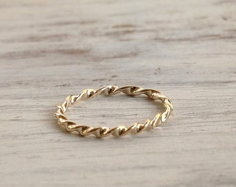 Gold ring, stacking rings, gold twist ring, handmade, stack ring, thin gold ring, knuckle ring - 1005