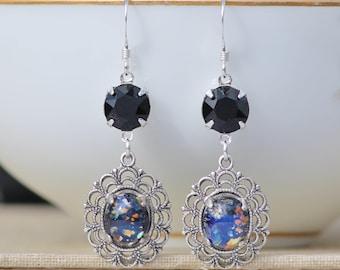 NEW Black Fire Opal Earrings,Vintage Black Harlequin Opal & Jet Rhinestone Earrings,Drop,Sterling Silver Earring,Colorful,Unique,Jet AB