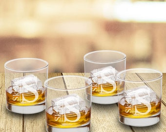 Personalized Lowball Whiskey Glasses Set of 4 - Personalized Whiskey Glass Sets -  Personalized Whiskey Glasses - Groomsmen Gifts - GC1570