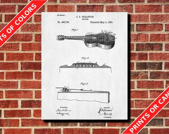 Acoustic Guitar Patent Print Design Musical Instrument Poster Art Guitar Blueprint Guitarist Gift Musician Gift Home Decor Living Room Decor