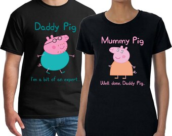 Couples Shirts, Daddy Pig Expert, Mummy Pig Well Done, Honeymoon Shirts, Daddy Pig, Mummy Pig, Couples Matching Shirt