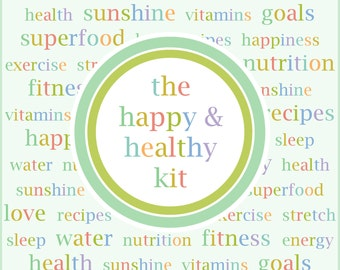 The HAPPY & HEALTHY KIT, health and fitness, printable, meal planner, exercise, recipe, weight loss, workout, 5.5 X 8.5, Half Page, 12 pages