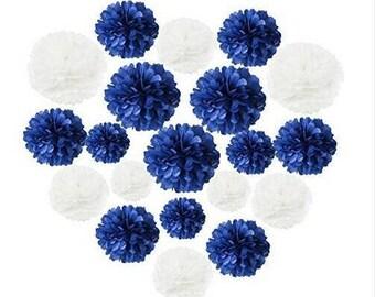 """Navy Blue Bridal Shower Decorations 18pcs 8"""" 10"""" 14"""" White Navy Tissue Paper Pom Pom Party Wedding Baby Shower Decoration"""