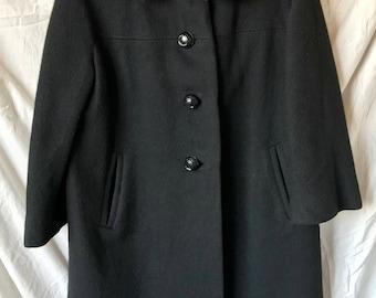 Union label dress coat: brown fur trimmed collar, black wool, 60s, 70s, ILGWU