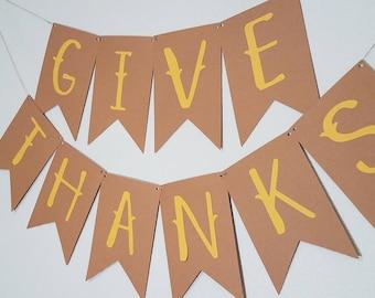 Give Thanks Banner | Thanksgiving Banner | Fall Banner | Kraft & Yellow Banner