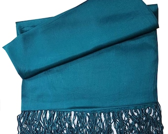 Pashmina Shawl Silky Feel Bridal Shawl Bridesmaid Gift  Wedding Gift Scarf/Shawl/Gift For Day To Evening Occasions (Teal Green)