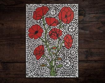 Poppies Meadow - Mosaic Wall Art, Handmade Mosaic