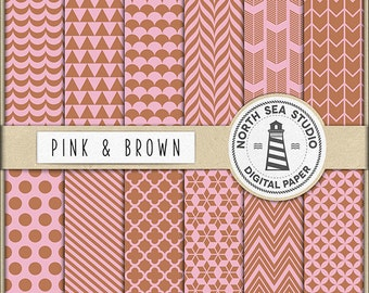Pink And Brown Digital Paper Pack | Scrapbook Paper | Printable Backgrounds | 12 JPG, 300dpi Files | BUY5FOR8