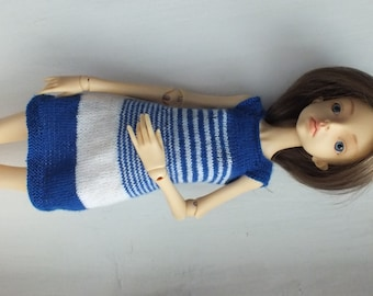 Handmade knitted wool  dress for Doll Chateau Kid and any MSD doll white and blue