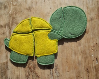 Turtle Puzzle : Toddler Puzzle , Jigsaw Puzzle ,Basket Filler , Stocking Stuffer.  ToddlerPuzzle . Party Favor . Learning.