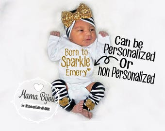 Newborn Girl Coming Home Outfit, Personalized Baby Girl Take Home Outfit, Brand New Baby, Gift Set, Leg Warmers Headband Options, Gold Black