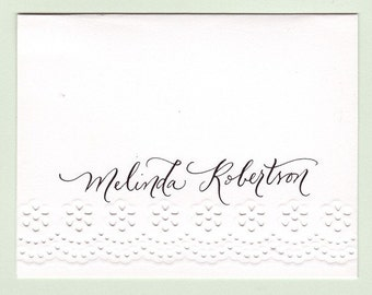 Personalized eyelet notecards