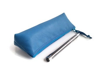 Jewellery bag. Pencil pouch. Leather Pencil Case. Pencil Case. Zippered Pencil Case. Blue Leather