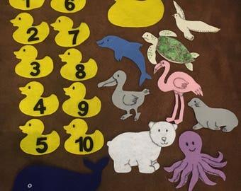 10 Little Rubber Ducks Flannel Felt Story/Preschool