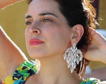 Big long earrings handmade delicate sterling silver filigree leaf, bridal earrings, elegant, feminine, silver leaves dangle earnings