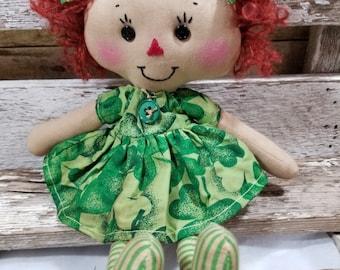 Raggedy Annie Primitive Dolls Lil Leslie Annie Raggedy Ann Doll Green St. Patricks Dress Annie Doll