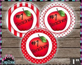 "Teacher Apple 213 - INSTANT DIGITAL DOWNLOAD - 1"" Bottlecap Button Bow Images (4x6) Digital Collage Sheet"