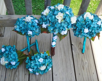 Hydrangea bridal bouquet set, teal hydrangea and white flower accent, Customize to match your wedding colors