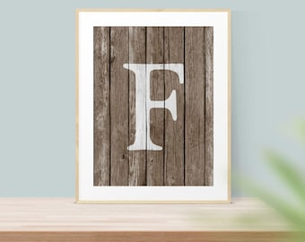 Letter F Print, Monogram Art - Rustic Wall Art, - Wood Monogram Letter - Printable Wall Art - Art Print - Rustic Letter Print - Home Decor