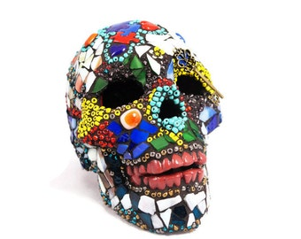 Sugar Skull Lamp, Mexican Day of the Dead Skull, Autism Awareness, Mosaic Sugar Skull, Home Decor, Puzzle Skull, Time Skull, Key Skull Art