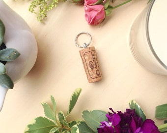 Cork Keychains, Set of Four, Boat Keychain, Wine Lover Gift, Stocking Stuffer, Wedding Favors, Party Favors
